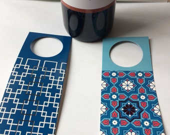 Modern geometric and mosaic set of eight bottle tags