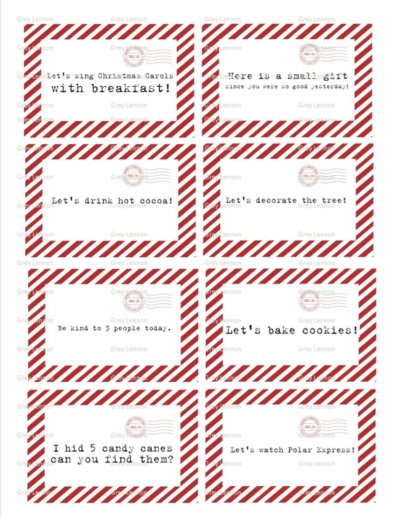 Christmas Elf 8 Daily Fun Holiday Activity Card Ideas - Vintage Typewriter Style - INSTANT Downloadable Printable PDF!