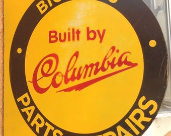 Vintage Columbia Bicycle Sales and Service Sign . Double Sided Metal Sign