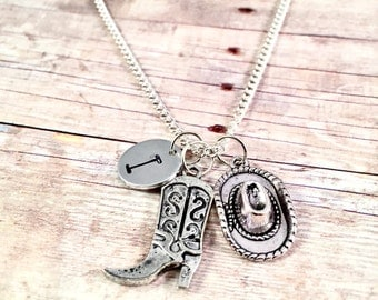 Cowgirl necklace, Country girl necklace, country gift, cowboy Charm,  initial necklace, cowboy boot necklace, cowboy hat necklace, texas