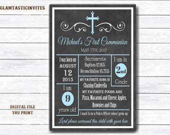 First Communion Chalkboard Sign, Boy First Communion Sign, First Communion Printable, First Communion Boy, Chalkboard Sign, Baptism Sign