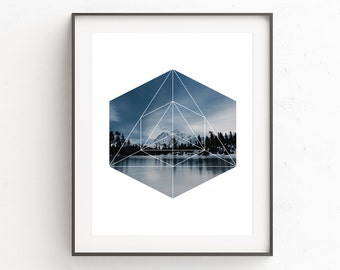 Photo Prints, Mountains Photography, Instant Download Printable Art, Hexagon Printable Art, Geometric Art, Modern Art Print