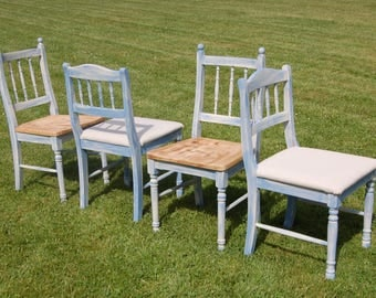 Unique Hand Painted Four Shabby Chic Dining Chairs - Mix & Match Set of 4