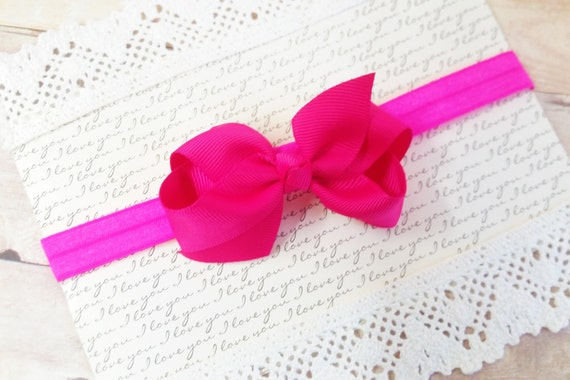 Hot Pink Headband Bow, Hair Bands For Toddlers, Mini Bow Headband, Fushia Headband, Baby Girl Bows, Infant Head Bows, Pink Headband Bow