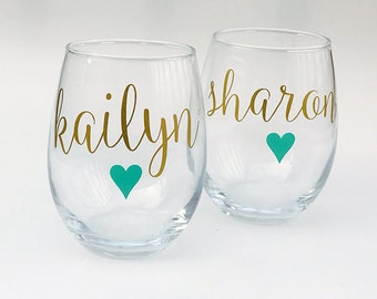 Personalized Stemless Wine Glasses - Bridesmaid Proposal - Bridal Party Gifts - Will You Be My Bridesmaid Gift - Bridal Party Gift