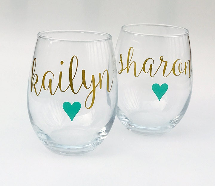 Personalized Wine Glasses Stemless Wine Glass Bridesmaid