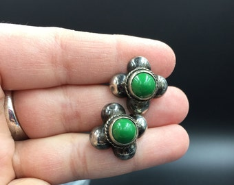 Vintage earrings,  sterling silver and green stone screw back style earrings from Mexico, made in the 1940's.