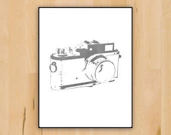 SALE 20% off | Camera Wall Decor | Printable Camera Silhouette Photography Art | Wall Decoration
