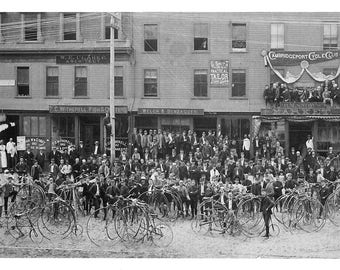 Cambridgeport Cycle Shop 1800 Charles River Cambridge Mass - many sizes - Cycle club black and white Harvard Poster Framable