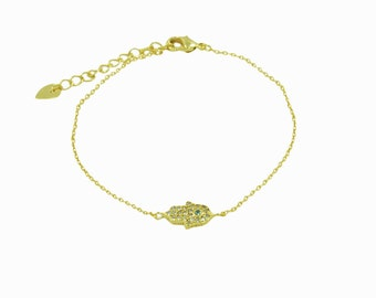 Hamsa hand bracelet, hand of fatima bracelet, Evil eye bracelet, gold bracelet, silver bracelet, protection jewellery, dainty bracelet,