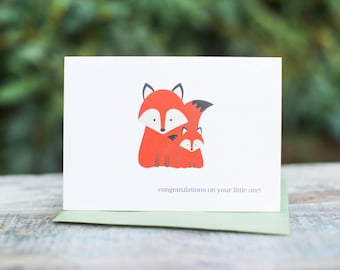 Woodland Baby Fox Card | Congratulations on Your Little One!