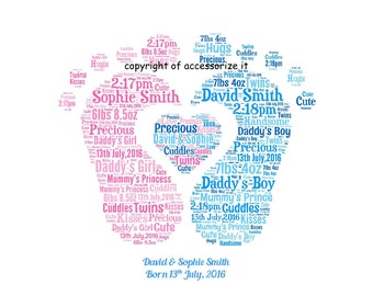A4 Size Personalised Word Art Print for Twins - Perfect Gift Idea very personal  *Digital File Also Available*