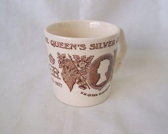 HM Queen Elizabeth II Commemorative Silver Jubilee Mug 1977 by Masons