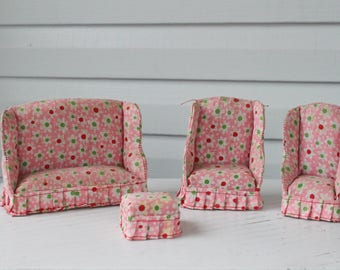 Vintage Pink Padded Flower Power Dollhouse Living Room Set-Wing Back Couch-Chair-Ottoman-Made in Taiwan-Pink Floral Flowers