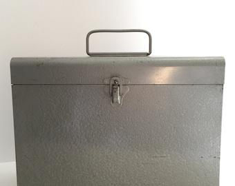 Vintage Metal Box--Vintage Grey Metal Storage Box--Vintage Metal Tool Box-- Retro Gray Metal File Box--Tall Grey Metal Box