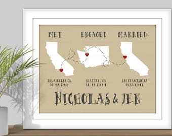 State Map Art, Met Engaged Married - PRINTABLE. Personalized Important Dates, Special dates, Custom State Art. Country Map Art