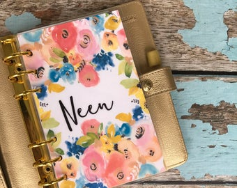"""CUSTOMIZABLE Planner Dashboard: """"Spring Floral"""", 10 Mil Laminated and Punched"""