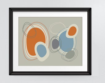 "Mid Century Modern Overlapping Oval Shapes design in warm greys, orange and blue 8""x10"" Instant Download"