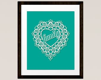 "Family Love Heart 8""x10"" Lace Cut out Heart Print in aqua colour INSTANT DOWNLOAD"