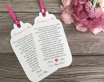 Gift poem tag, wedding invitation gift wish, honeymoon poem tag, wedding stationery, invitation extra insert
