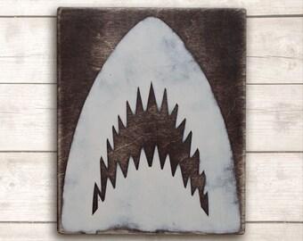 Shark Jaws Wood Sign; Beach Wall Art; Beach Wall Decor