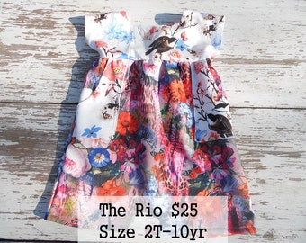 Made to Order Toddler Girls floral dress short sleeves square neckline Sizes 2T-10Yrs