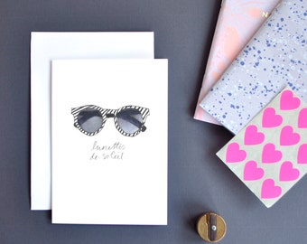 Sunglasses Greetings Card, Retro Greetings Card, French Card, Fashion Illustration, French Greetings Cards, Minimal Greetings, Girls Card