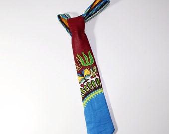 Dashiki necktie, African necktie, Kids tie-Burgundy