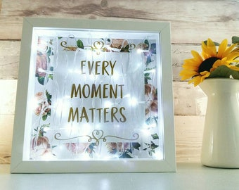 Inspirational wall lamp, quote light box, girls room lighting, unique gifts for her, vintage floral decor, motivational lightbox for mum