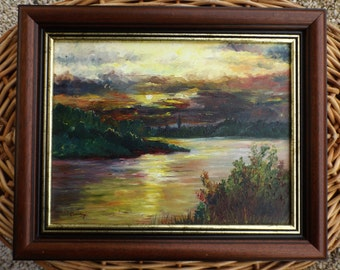 Oil painting on canvas vintage / vintage painting signed / framed canvas of a french painter / the sunset landscape