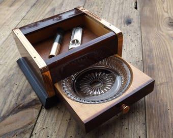 Cigarettes and ashtray vintage box / smoker vintage Collection / ashtray cigarette case coupe-cigarettes vintage