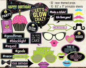Photo Booth Props, NEON BIRTHDAY, girl, boy, all ages, birthday party, glow, black light, printable sheets, instant download, diy