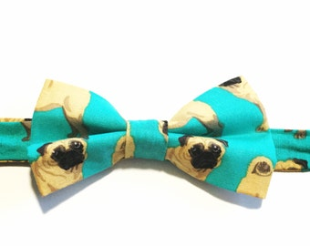 Pug Bow tie, Turquoise Bow Tie, Pre-tied, Men's Bow Tie, Cotton, Dogs