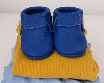Blue fringe moccasins Baby, infant, toddler shoes Genuine leather mocs