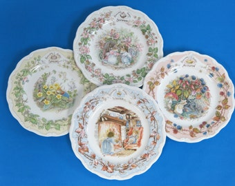 """Royal Doulton Brambly Hedge - A Full Set Of Four Seasons Large 8"""" Plates - Spring, Summer, Autumn & Winter - First Quality - Made In England"""