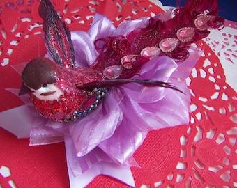 "Beautiful Large Bird Hair Bow Large 5.5""  on a Satin Lavender Nest Hair Bow Alligator Clip Fascinator Bird Clip"