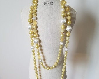 """Vintage Butter Yellow and White Plastic 1950's-60's Long Beaded Necklace~Made in Japan 54"""" Beaded Necklace~Vintage Plastic Bead Necklace"""