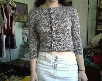 Vintage 90s leopard print button down top cardigan size XS