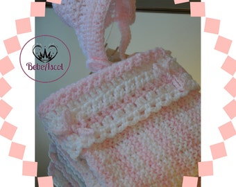Knit wool blanket for Baby Girl in pink