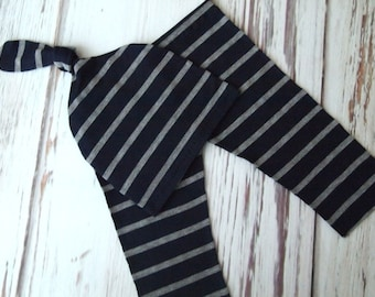 NEW! RTS Navy and Gray Stripe Newborn Baby Boy Photo Pant and Knot Hat Set!