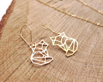 Fox Earrings, origami, baby fox, gold, geometric, animal, love, romantic
