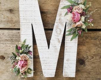 Wildflower Wooden Letter M | Floral Letter | Wooden Letter | Shabby Chic | Boho | Nursery Decor | Botanical Art | Woodland Theme | Baby Girl