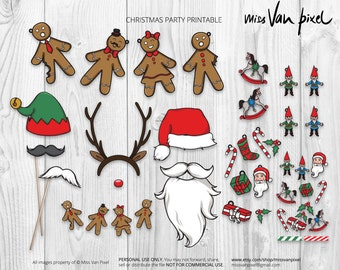 Christmas Party Printable Pack, Party Decoration and Photo Booth Props