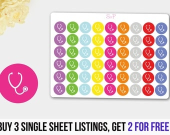 Stethoscope Stickers, Doctor Stickers, Nurse Stickers, Hospital Stickers for Erin Condren Life Planner, Happy Planner, Limelife