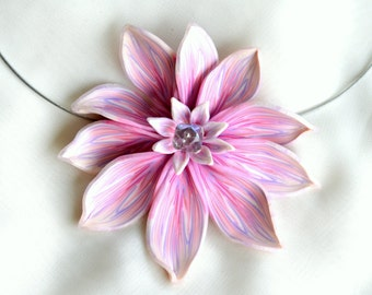 Necklace from polymer clay.Elegant and modern flower on antiallergic wire with Czech crystal bead.