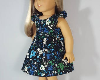 18 inch doll clothes Multi Floral on Black dress
