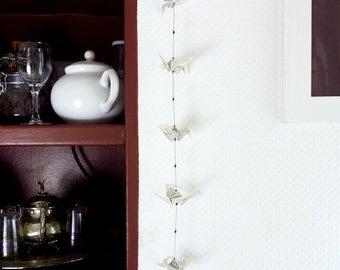 Origami garland 'Sora' - Handmade printed paper cranes and Swarovski crystals - Home decor, wedding garland, origami mobile, wall hanging