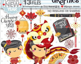80%OFF - Chinese New Year Clipart, COMMERCIAL USE, Chinese New Year Party, Planner Accessories, Planner Girl, Year of the Rooster