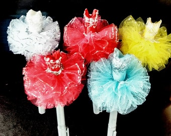 Red, Pink, Yellow, White, Light Blue, Ballerina Tutu Pen topper, Tutu Pen favor, assorted colors tutu,  (5 pcs.)