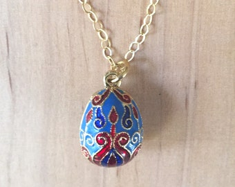 Faberge style Russian egg necklace